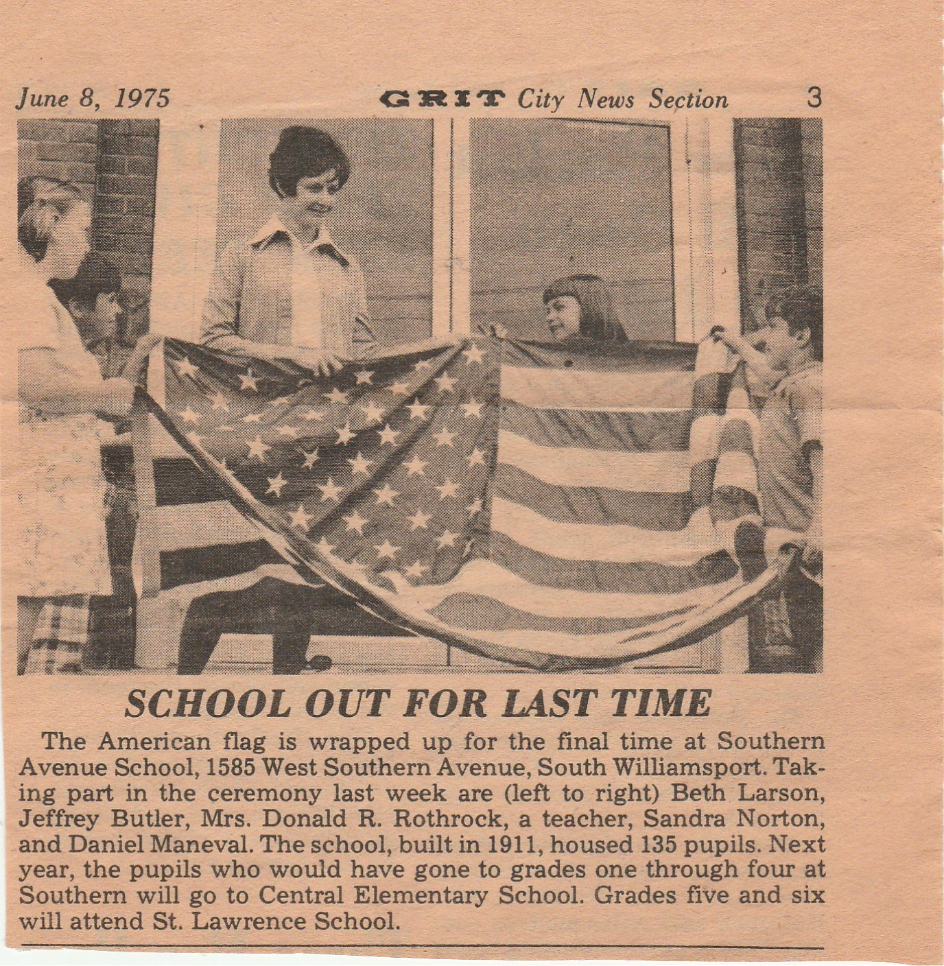 Southern Ave. School Flag Ceremony 1975