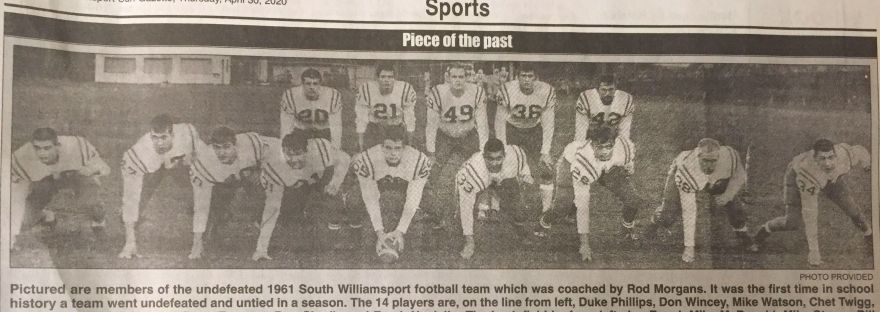 South Williamsport captures 1961 football championship with first undefeated team in school history
